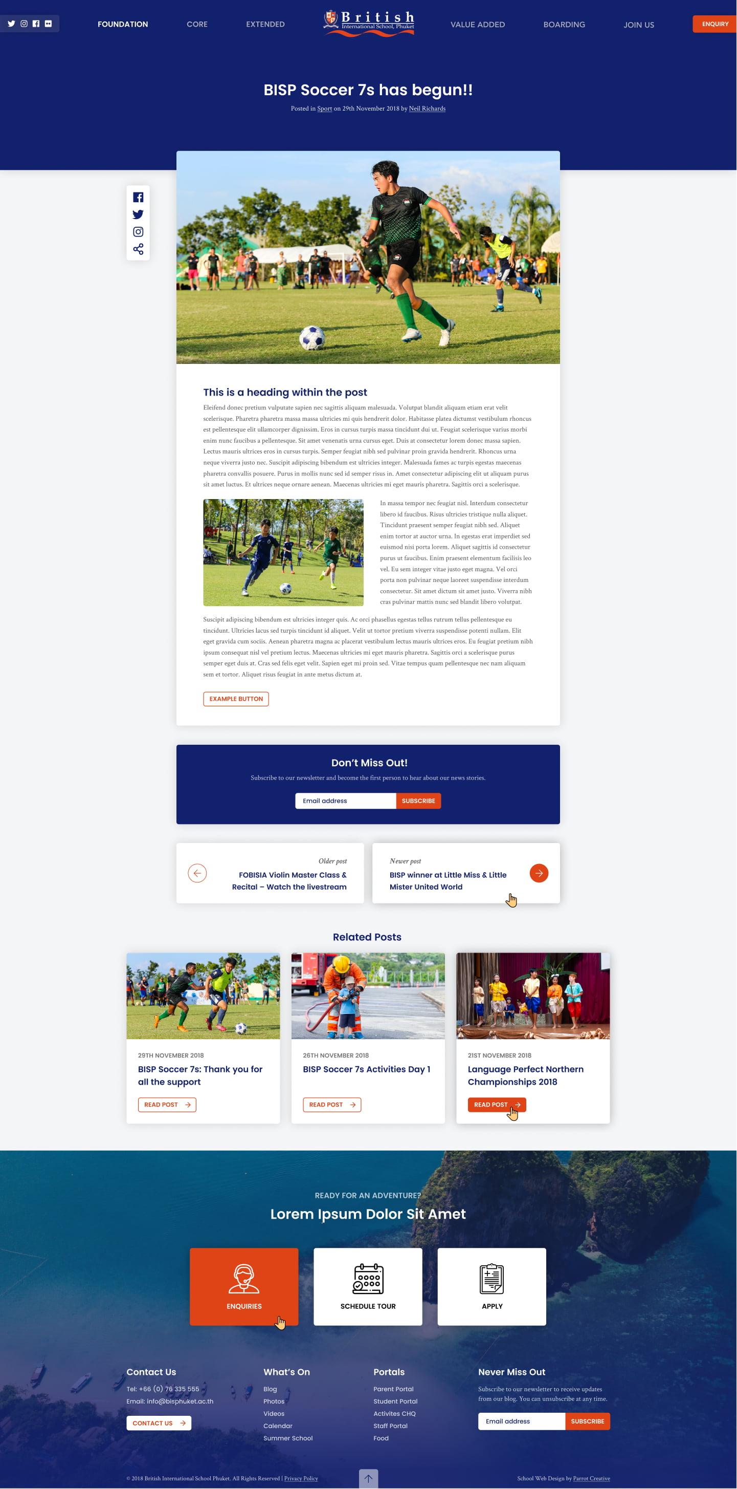School website blog article design
