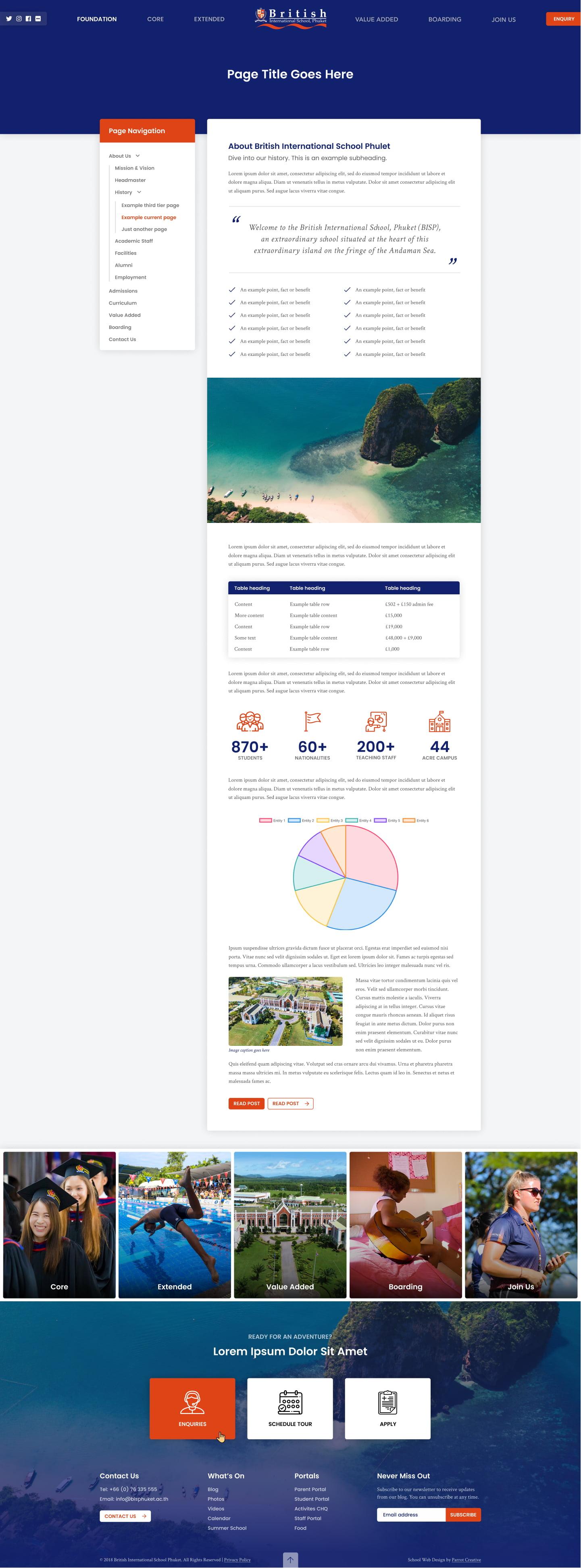School website content page design