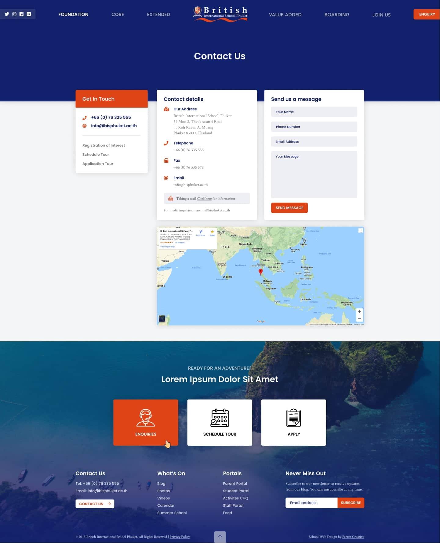 School website contact page design