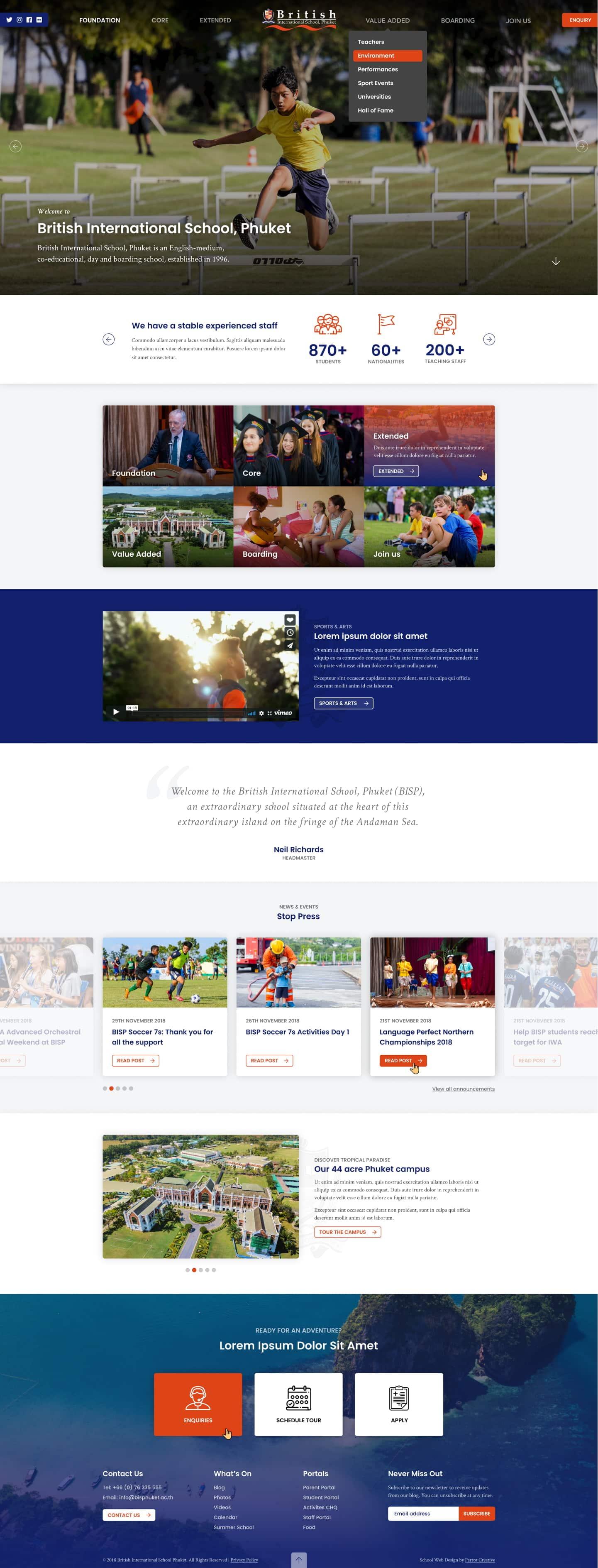School website homepage design