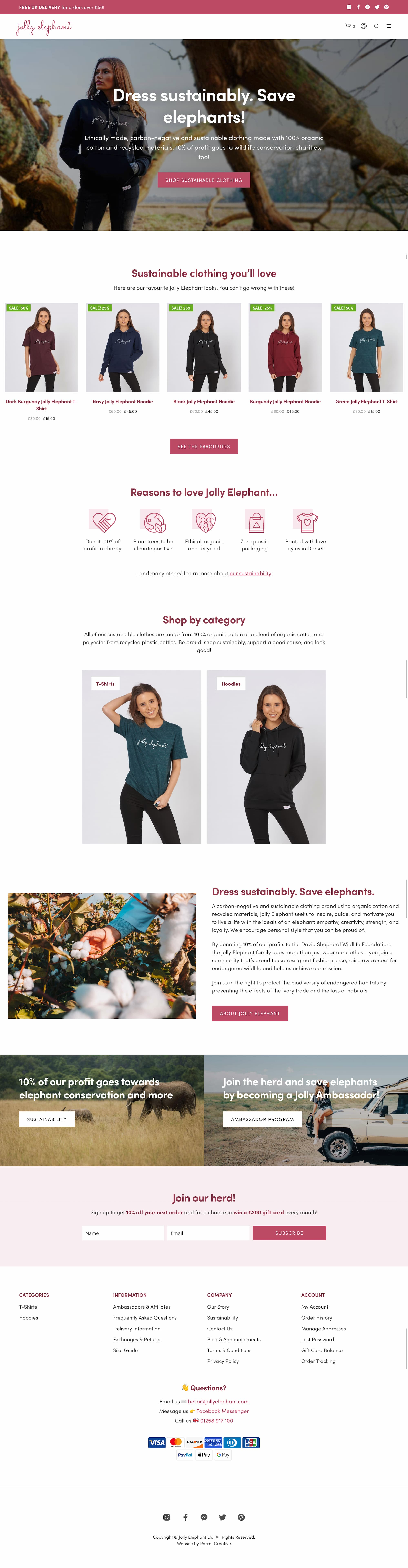 Sustainable brand website homepage design