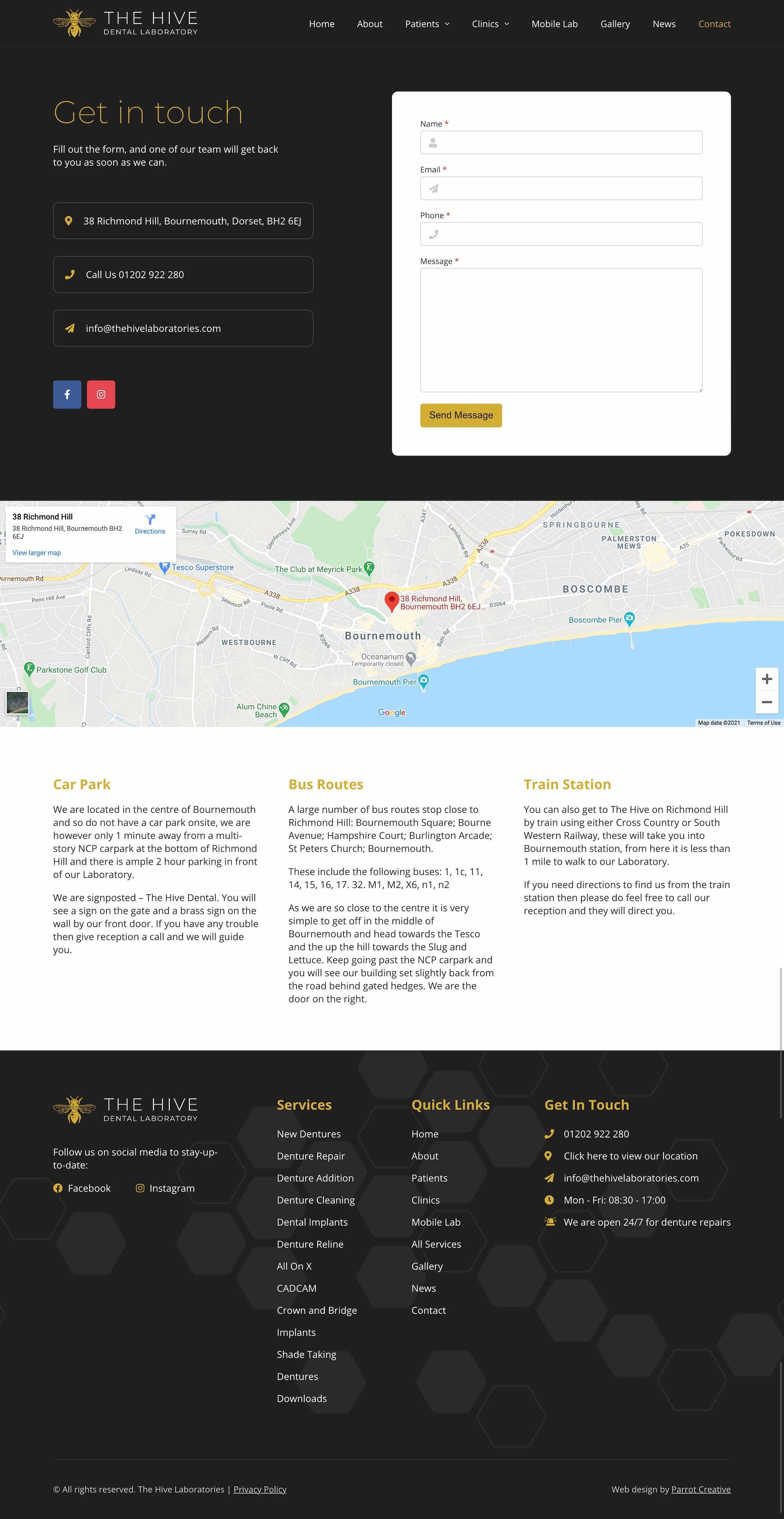 Dorset denture clinic contact page design