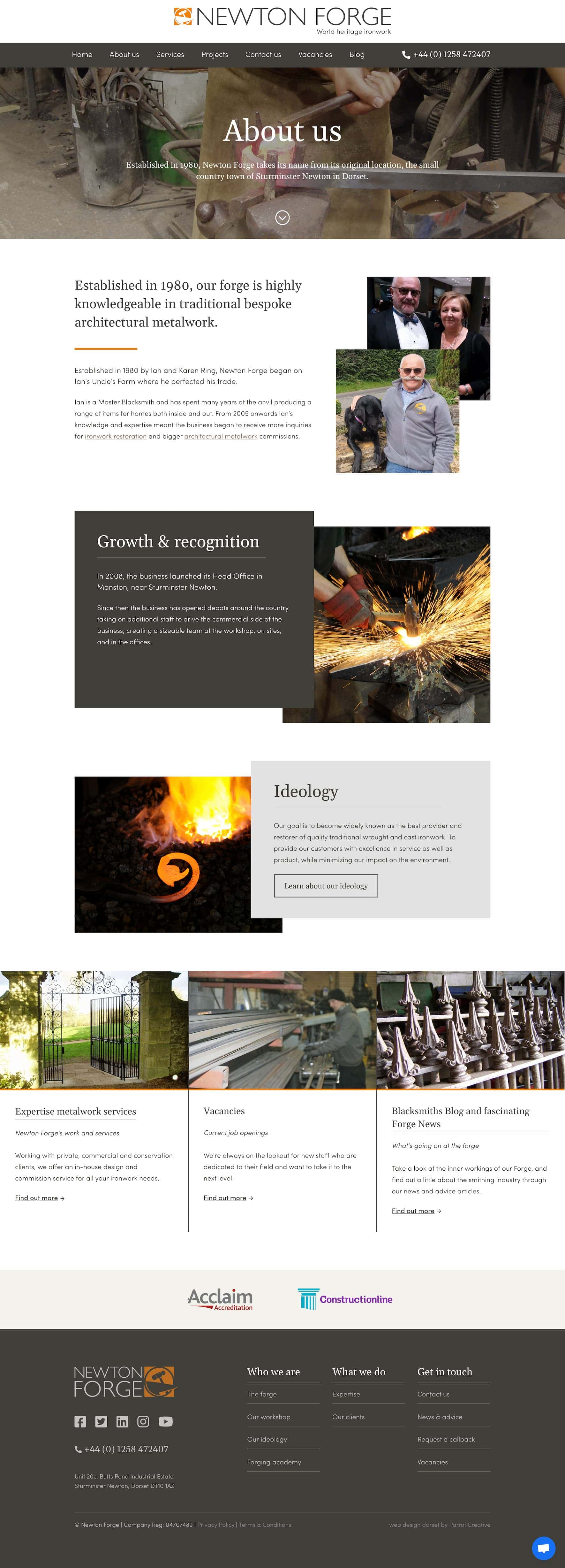 Traditional metalwork about page design