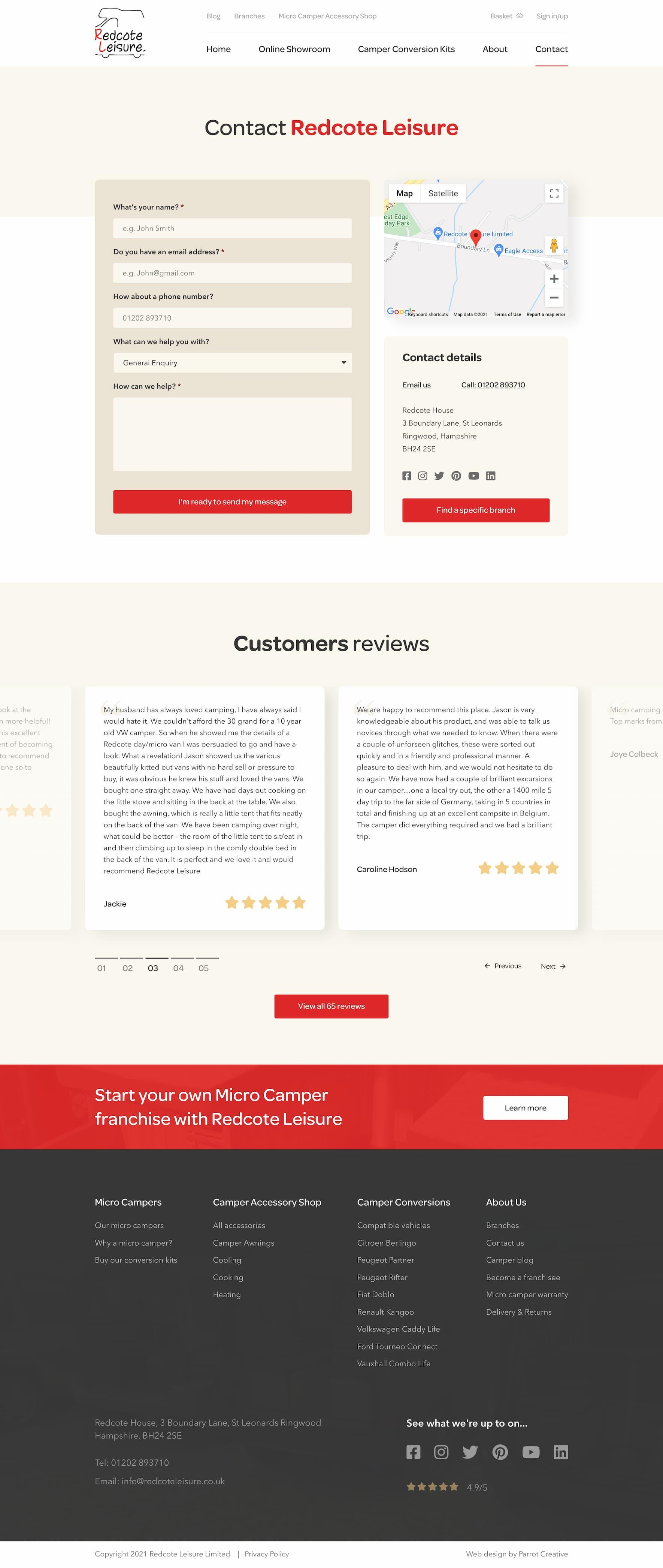 Camper website contact page design