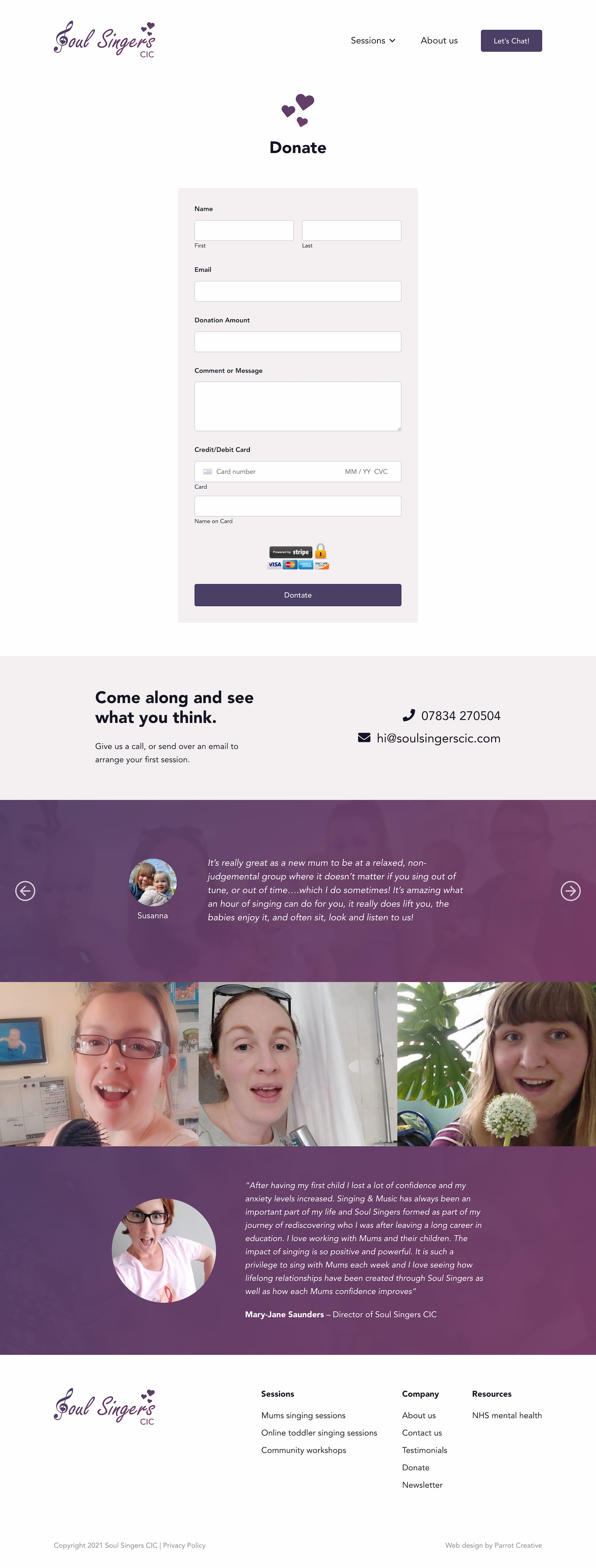 Singing group and choir donate page design