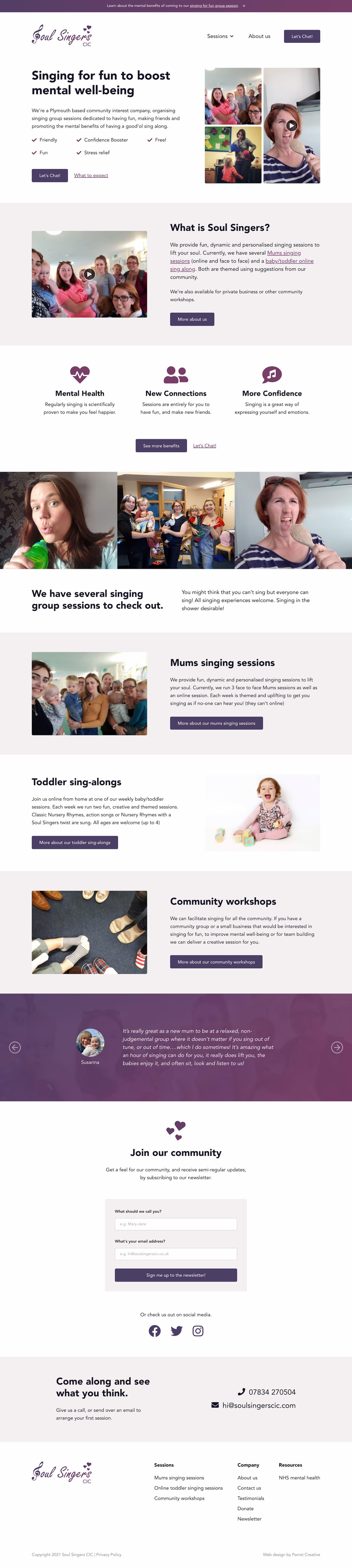 Singing group and choir website design