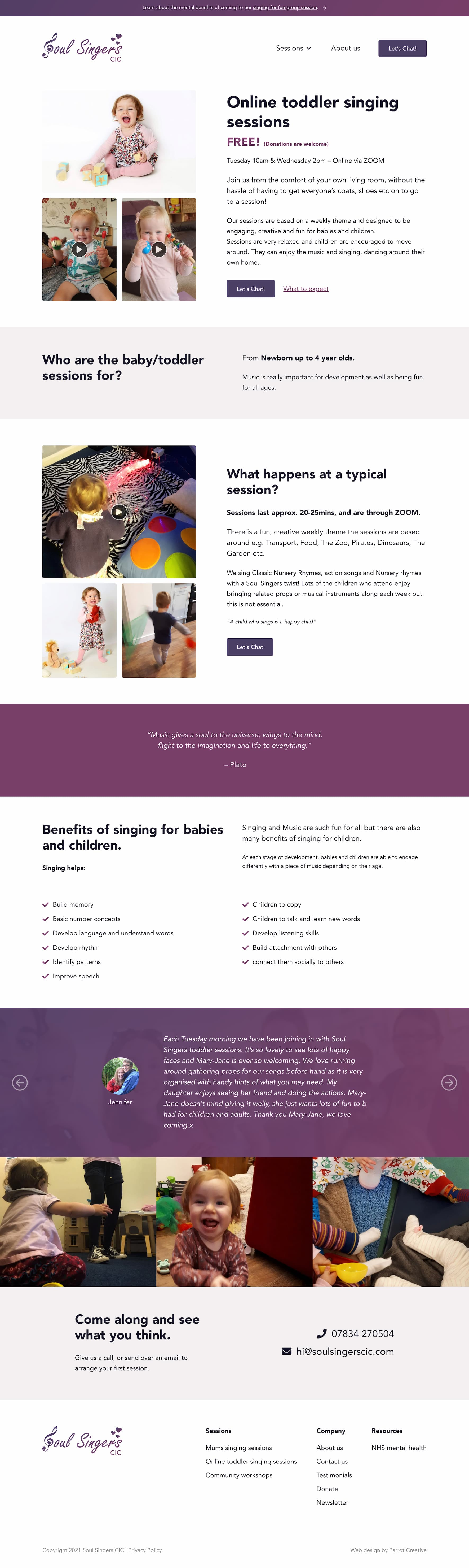 Singing group and choir service page design