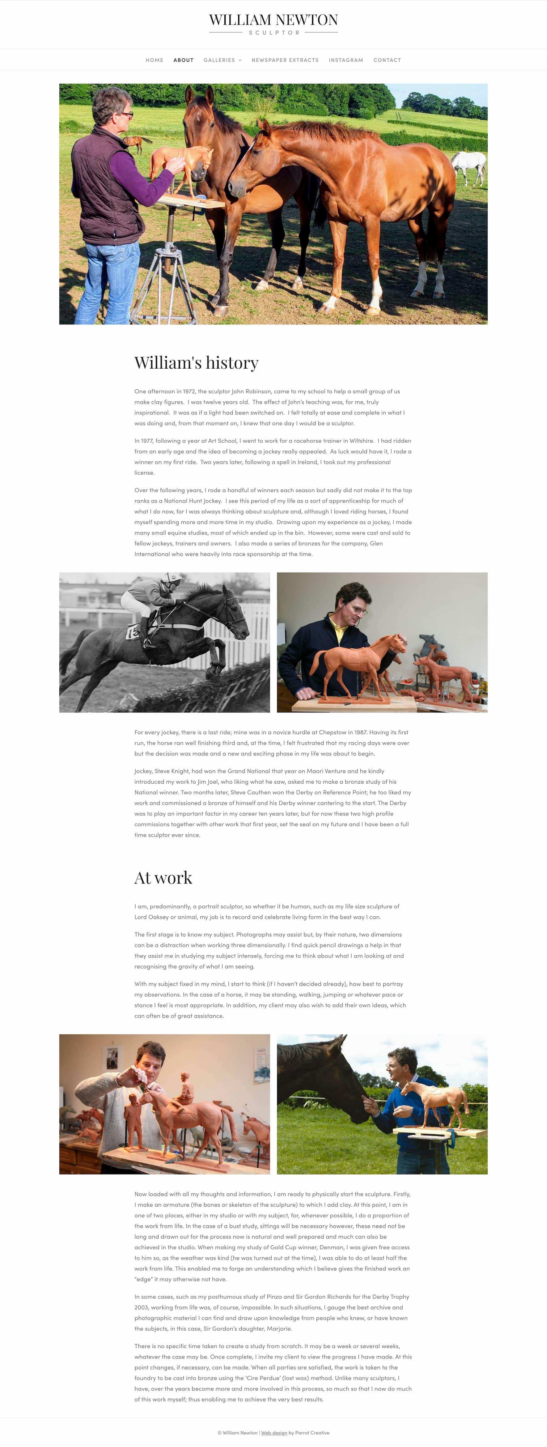 Sculptor artist website about page design